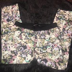 Zara cropped floral dress pants